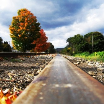 A railroad track in New York.
